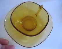 Vintage 1960s Vereco French glass cup and saucer amber very retro chic ideal for coffee Vereco