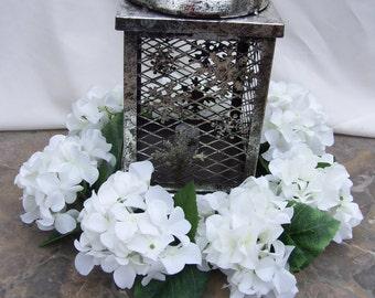 """10"""" Lantern Weath, White Hydrangea Wreath for table centerpiece"""
