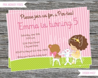 DIY - Girl Teddy Bear Tea Party Birthdday Invitation #407- Coordinating Items Available