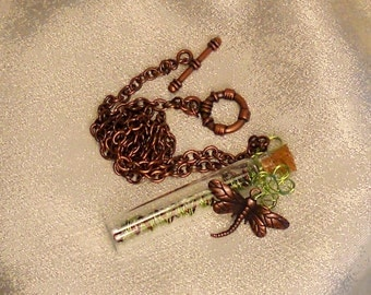 Dragonfly DNA in a Mini Bottle Necklace
