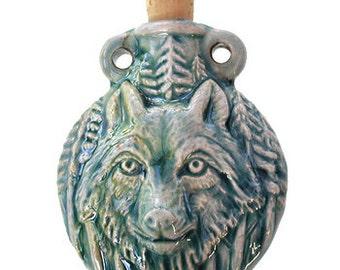 Wolf Clay Bottles 49 x 42mm blue green raku glaze