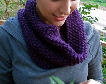 Seed stich knit cowl scarf/short infinity scarf purple colored