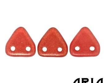 HALO CARDINAL: 6mm Two-Hole Czech Glass Triangle Beads (10 grams)