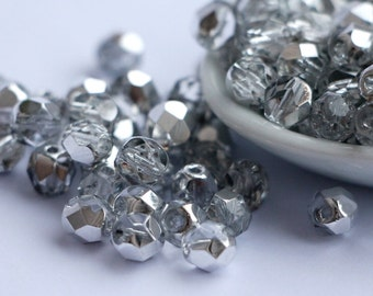 6mm Half Silver Coated Fire Polished Czech Beads Round Clear 1/2 Silver 30 beads