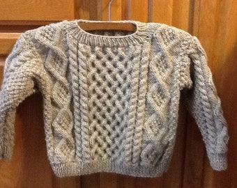Aran style Fishermen's wool pullover sweater for children, size 6