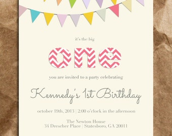 Cute and Sweet Girl's 1st Birthday Invitation