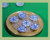 Custom order for Signe, quarter scale dollhouse miniature hand decorated real porcelain plates, set of 6