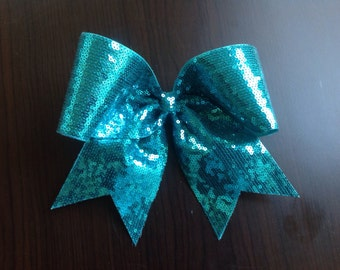 Teal Sequin Cheer Bow