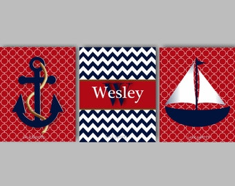 Baby Boy Nursery Art Nautical Nursery Print Boys Nautical Bedding Decor Sailboat Print Collection Anchor Decor Choose Colors NN1563