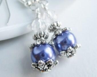 Purple pearl earrings, violet dangle ear rings, victorian earrings, jewelry shops, light purple jewelry handmade
