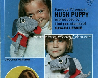 Knit and Crochet Hush Puppy TOY Puppet Pattern PDF 530 from ToyPatternLand and WonkyZebra