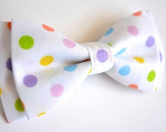 Bow Tie- White and Colorful Polka Dots, Bow Ties for Kids
