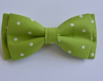 Apple Green and Ivory Polka Dot Bow Tie for Boys and Men, Kids bow tie clip, Bow tie