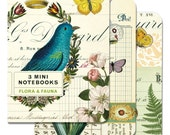 Flora & Fauna 3 Mini Notebooks, Cavallini