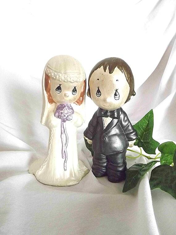 Vintage Ceramic Bride And Groom Cake Topper