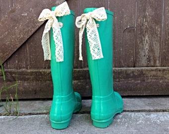 Custom Mint Gloss Rain Boot with Bow