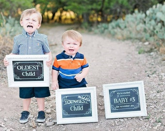 3 We're Expecting Baby #2, 3, 4 + Chalkboard Announcement Printable files- Announcing baby/ pregnancy announcement 8x10