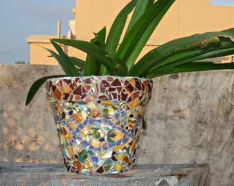 Large OUTDOOR PLANTER MOSAIC Pot ''Knome Fairy Forest''