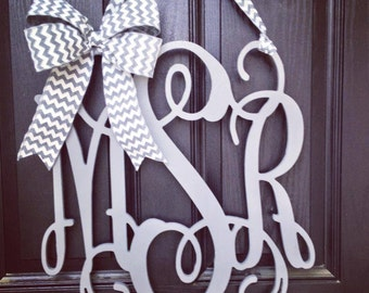20 inch 3 letter wooden front door monogram with bow // gray monogram wreath // gray and white chevron bow