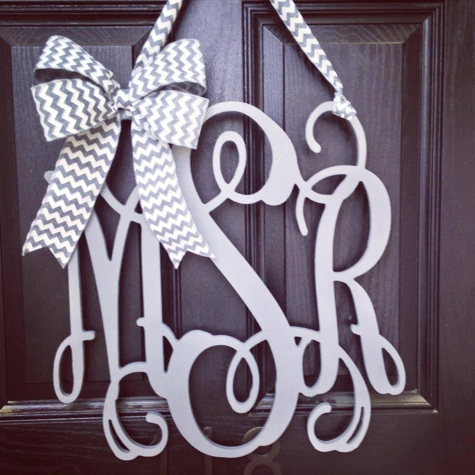 20 Inch 3 Letter Wooden Front Door Monogram With Bow // Gray