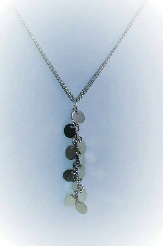 Fabulous sterling silver tiny discs statement necklace