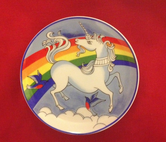 Flying Unicorn Plate with Bluebirds, Clouds, and Rainbow Decorative Display Plate