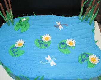 Edible fondant F.R.O.G. (fully rely on God) cake topper kit