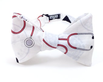 Stethoscope Bow Tie - bowtie, bow ties, bowties, medical, hospital, nurse, doctor, fun, cool, mens, boys, cardiologist, cardiology, wedding