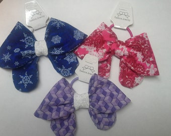 set of 3 hair bow ponytail holders