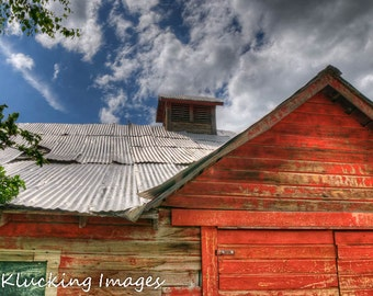 Red Barn Landscape Photography, Red Barn and Summer Sky,