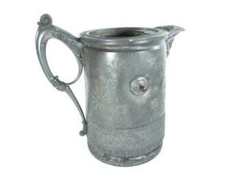 Silver water pitcher,antique pitcher,jug,silver,serving,pitcher,entertaining,antique water pitcher,