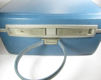 BLUE RETRO Suitcase, Mid Century Luggage, Travel Bag, Overnight bag, Blue case,small case,