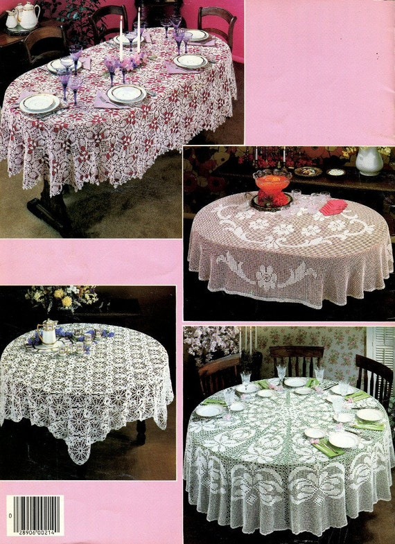Crochet Tablecloths Pattern Book 5 Designs Round And Oval