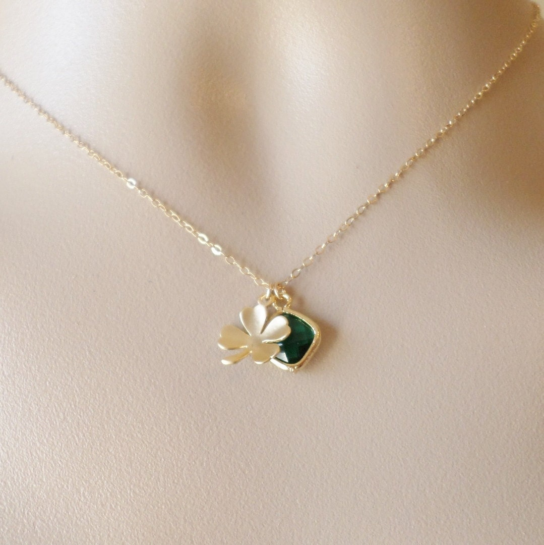 gold four leaf clover and emerald necklace clover necklace