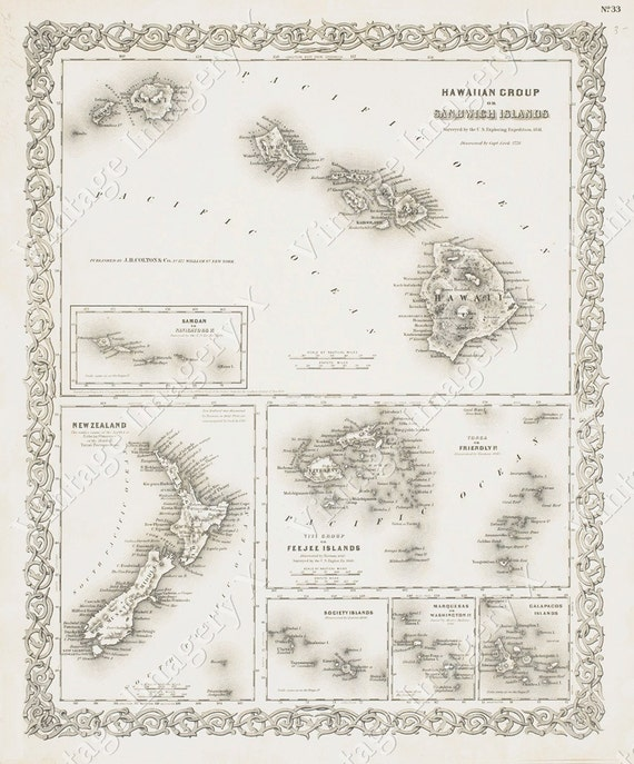 Old Hawaii map Vintage Historic Hawaiian Sandwich Islands 1841 Antique Style Restoration Hardware Style wall chart Map Fine art Print Poster