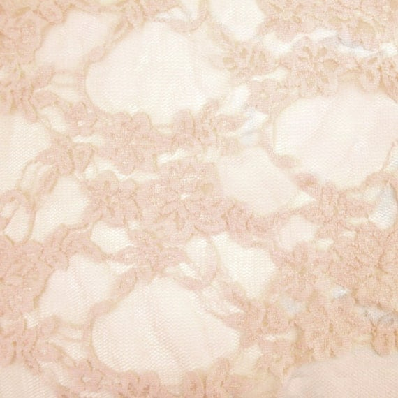 Stretch Lace Fabric Peach Wedding Bridal Lace Curtain Tulle Sheer Stretch Lace Fabric by the Yard - 1 Yard style 13331A