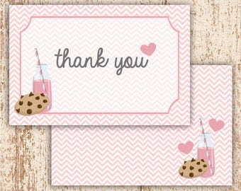 PRINTABLE Milk and Cookies - Thank You Card