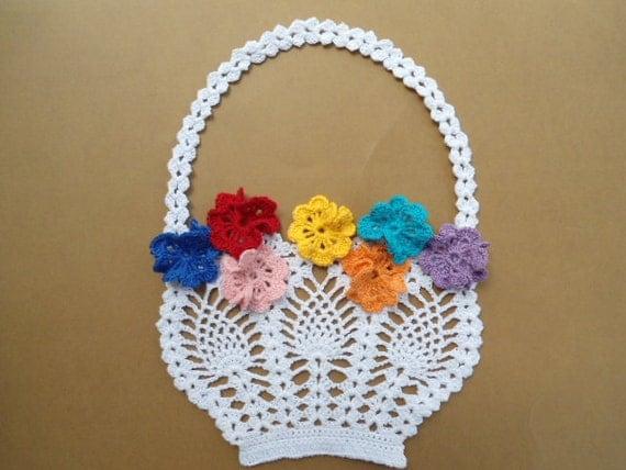 Handmade Crochet Basket : Items similar to handmade crochet basket flower doily on etsy