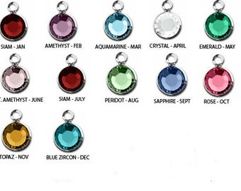 Swarovski Birthstone Charm Add-On, Crystal Charm, silver, 6mm, mothers birthstone, custom, Personalized jewelry, choose your colors, USA
