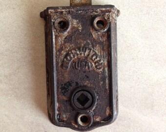Norwich USA Victorian Vintage Door Latch, antique door latch, salvaged hardware, restoration hardware