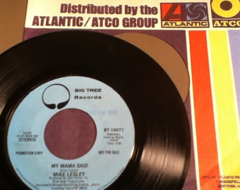 Mike Lesley My Mama Said Vintage Vinyl 45 Promotional Record Big Tree Records BT - 16071 Mono and Stereo