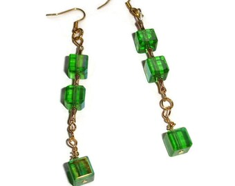 Green and Gold Square Dangle earrings