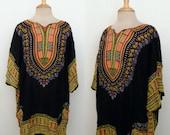 50% Off SALE Vintage 70s Dashiki Hippie Gypsy Bohemian Batik Mini Caftan Dress Tunic Top