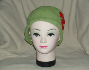 Unique Lime Felted Lambs Wool Hat with Cherry Applique