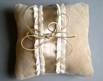 Wedding Ringbearer Pillow - Country Chic Velvet and Satin - OOAK