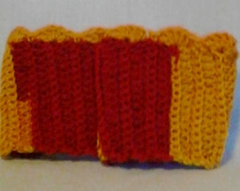 Football Bright Red and Gold Scallop Edge Crochet Boot Cuffs