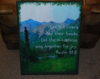 8X10 Canvas Scripture Picture Psalm 98:8