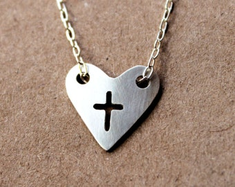 Silver Heart Cross Necklace - Heart Necklace - Cross Necklace - Silver - Fine