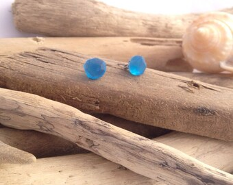 Cobalt blue faceted earrings. Surgical steel studs.