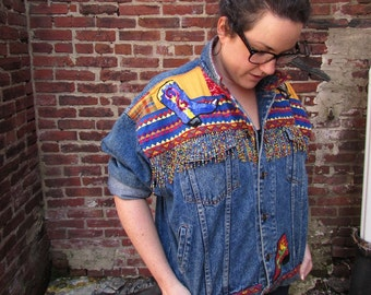 1980s Women's Denim Jacket - Americana Wild West Sequin Revolver and Cowboy Boots, Beaded Fringe, Embroidered Bandana Patchwork, Ribbon Edge
